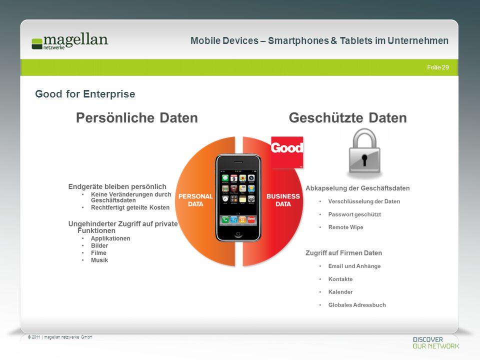 Folie 29 © 2011   magellan netzwerke GmbH Mobile Devices – Smartphones & Tablets im Unternehmen Good for Enterprise