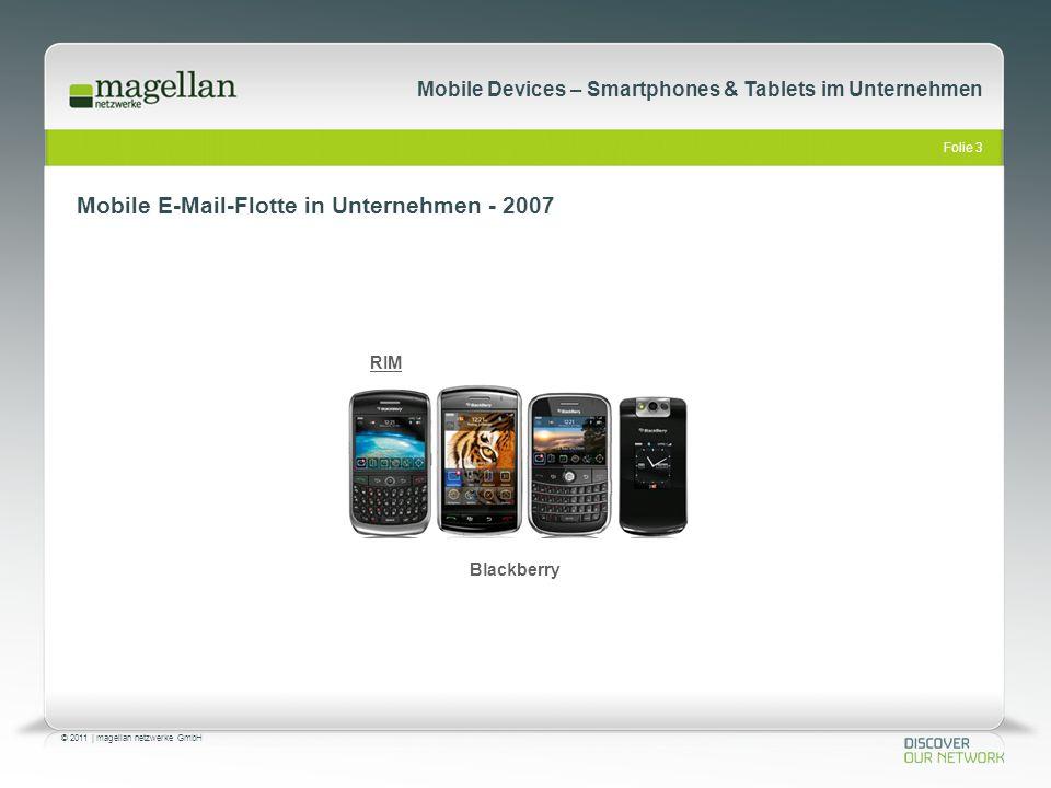 Folie 3 © 2011   magellan netzwerke GmbH Mobile Devices – Smartphones & Tablets im Unternehmen Mobile E-Mail-Flotte in Unternehmen - 2007 RIM Blackber