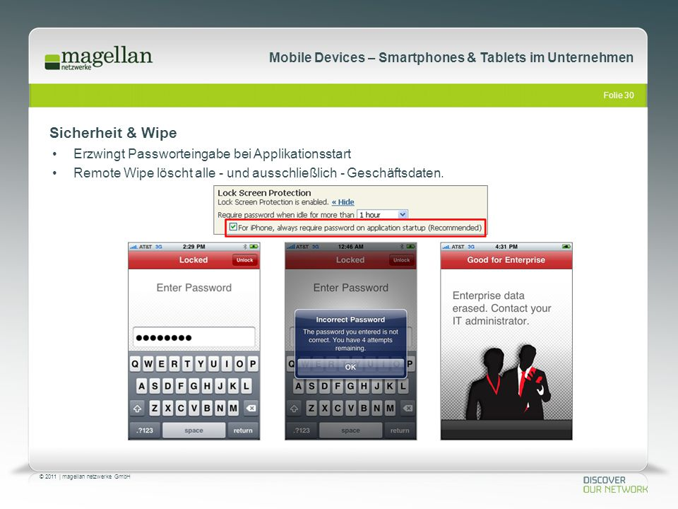 Folie 30 © 2011   magellan netzwerke GmbH Mobile Devices – Smartphones & Tablets im Unternehmen Sicherheit & Wipe Erzwingt Passworteingabe bei Applika