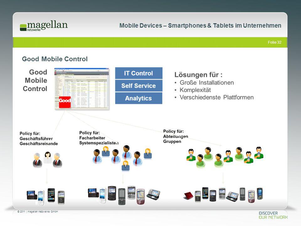 Folie 32 © 2011   magellan netzwerke GmbH Mobile Devices – Smartphones & Tablets im Unternehmen Good Mobile Control