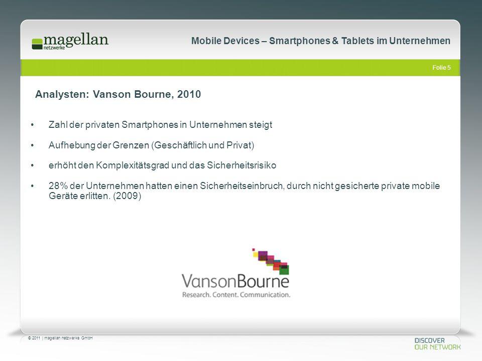 Folie 5 © 2011   magellan netzwerke GmbH Mobile Devices – Smartphones & Tablets im Unternehmen Zahl der privaten Smartphones in Unternehmen steigt Auf