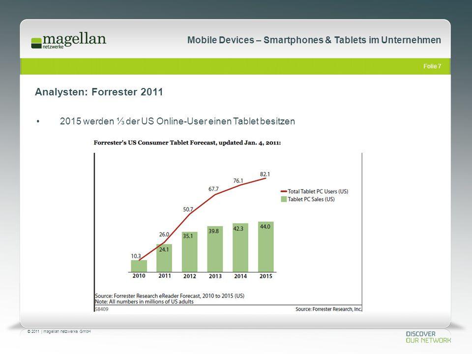 Folie 7 © 2011   magellan netzwerke GmbH Mobile Devices – Smartphones & Tablets im Unternehmen Analysten: Forrester 2011 2015 werden ⅓ der US Online-U