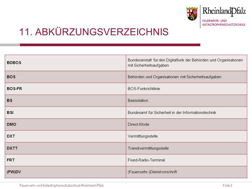 Folie 2Feuerwehr- und Katastrophenschutzschule Rheinland-Pfalz 11. ABKÜRZUNGSVERZEICHNIS BDBOS Bundesanstalt für den Digitalfunk der Behörden und Orga