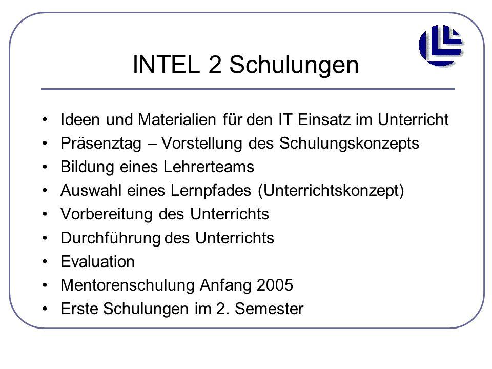 INTEL 2 Schulungen Ideen und Materialien für den IT Einsatz im Unterricht Präsenztag – Vorstellung des Schulungskonzepts Bildung eines Lehrerteams Aus