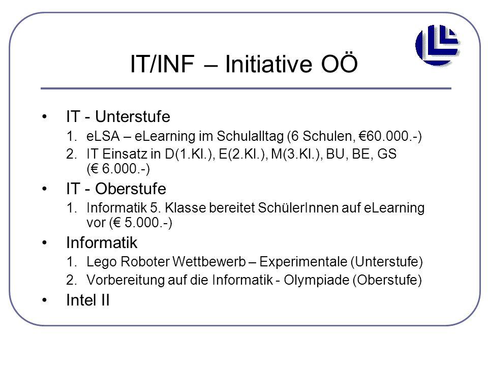 IT/INF – Initiative OÖ IT - Unterstufe 1.eLSA – eLearning im Schulalltag (6 Schulen, €60.000.-) 2.IT Einsatz in D(1.Kl.), E(2.Kl.), M(3.Kl.), BU, BE,