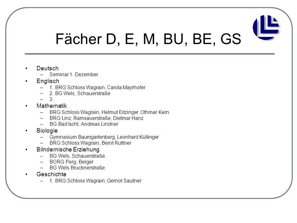 Fächer D, E, M, BU, BE, GS Deutsch –Seminar 1. Dezember Englisch –1. BRG Schloss Wagrain, Carola Mayrhofer –2. BG Wels, Schauerstraße –3. Mathematik –