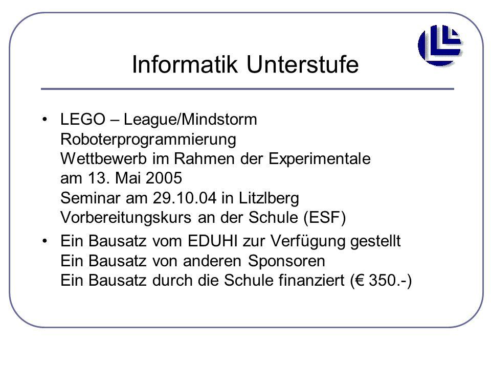 Informatik Unterstufe LEGO – League/Mindstorm Roboterprogrammierung Wettbewerb im Rahmen der Experimentale am 13. Mai 2005 Seminar am 29.10.04 in Litz