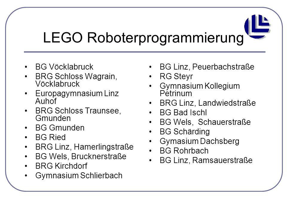 LEGO Roboterprogrammierung BG Vöcklabruck BRG Schloss Wagrain, Vöcklabruck Europagymnasium Linz Auhof BRG Schloss Traunsee, Gmunden BG Gmunden BG Ried