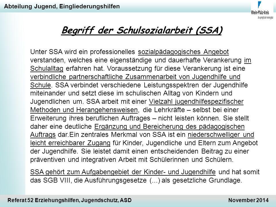 Abteilung Jugend, Eingliederungshilfen Referat 52 Erziehungshilfen, Jugendschutz, ASDNovember 2014 Begriff der Schulsozialarbeit (SSA) Unter SSA wird