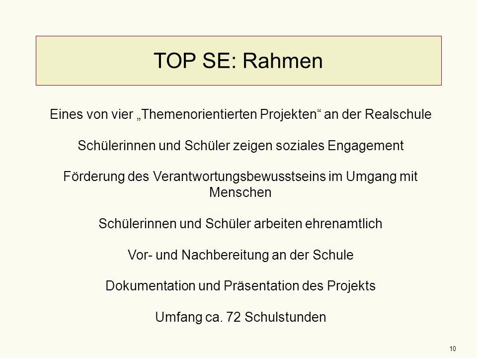 """10 TOP SE: Rahmen Eines von vier """"Themenorientierten Projekten"""" an der Realschule Schülerinnen und Schüler zeigen soziales Engagement Förderung des Ve"""