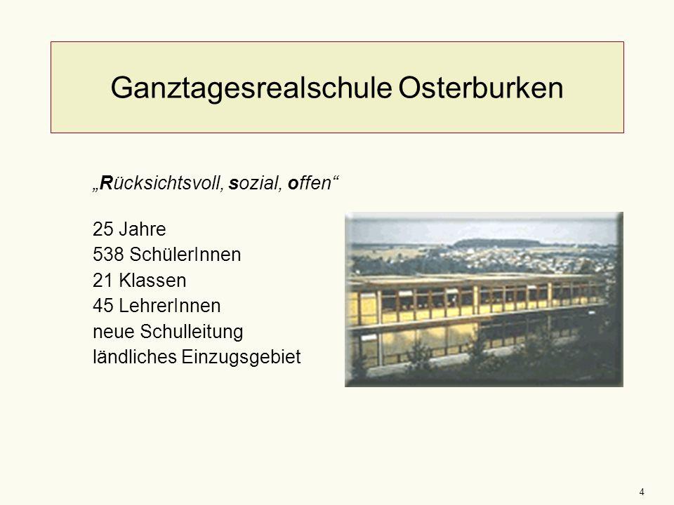 """4 Ganztagesrealschule Osterburken """"Rücksichtsvoll, sozial, offen"""" 25 Jahre 538 SchülerInnen 21 Klassen 45 LehrerInnen neue Schulleitung ländliches Ein"""