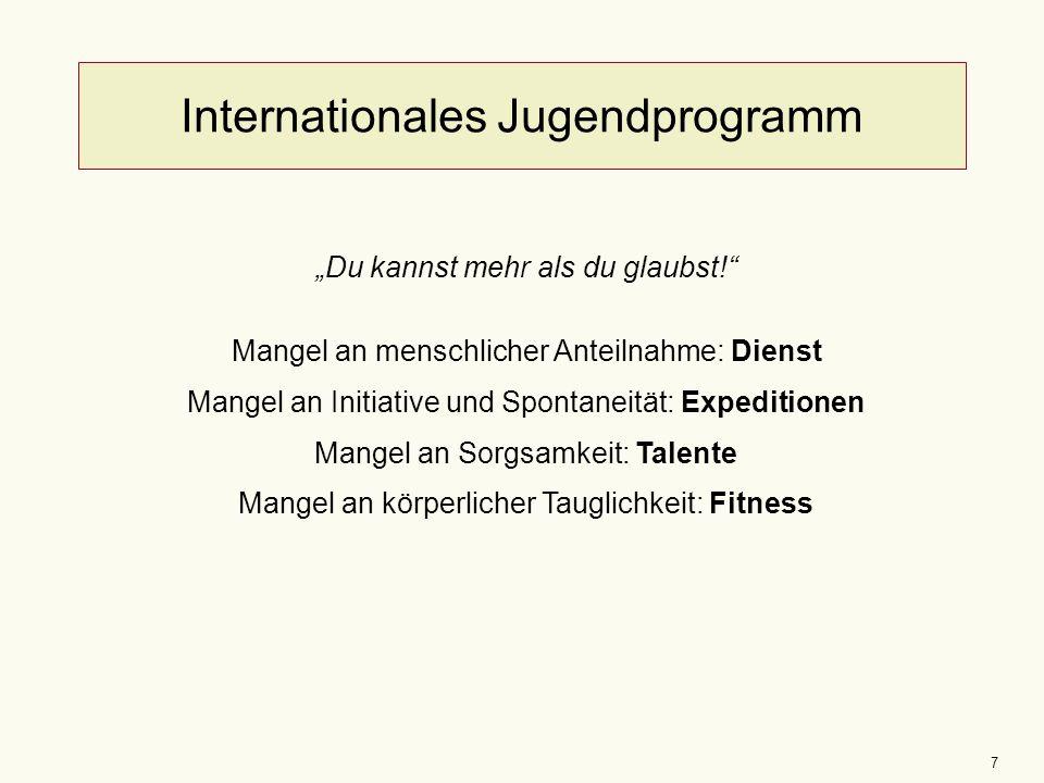 """7 Internationales Jugendprogramm """"Du kannst mehr als du glaubst!"""" Mangel an menschlicher Anteilnahme: Dienst Mangel an Initiative und Spontaneität: Ex"""