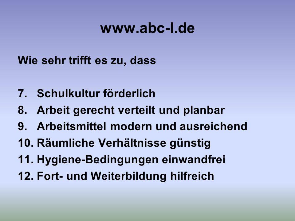 www.abc-l.de Wie sehr trifft es zu, dass 7.Schulkultur förderlich 8.