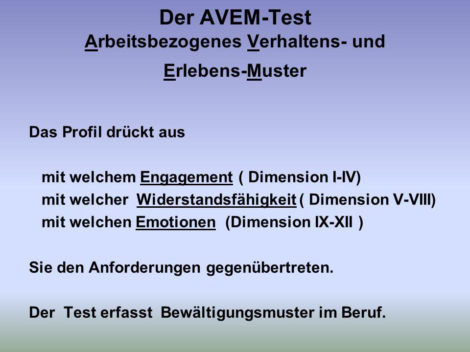 Der AVEM-Test Arbeitsbezogenes Verhaltens- und Erlebens-Muster Das Profil drückt aus mit welchem Engagement ( Dimension I-IV) mit welcher Widerstandsfähigkeit ( Dimension V-VIII) mit welchen Emotionen (Dimension IX-XII ) Sie den Anforderungen gegenübertreten.