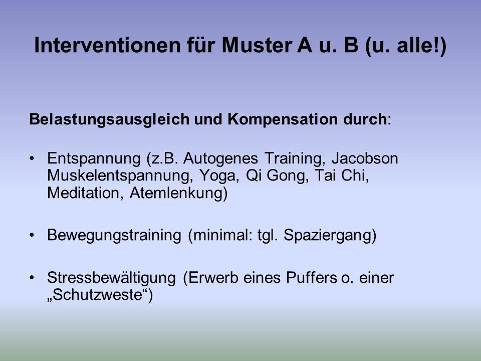 Interventionen für Muster A u.B (u.