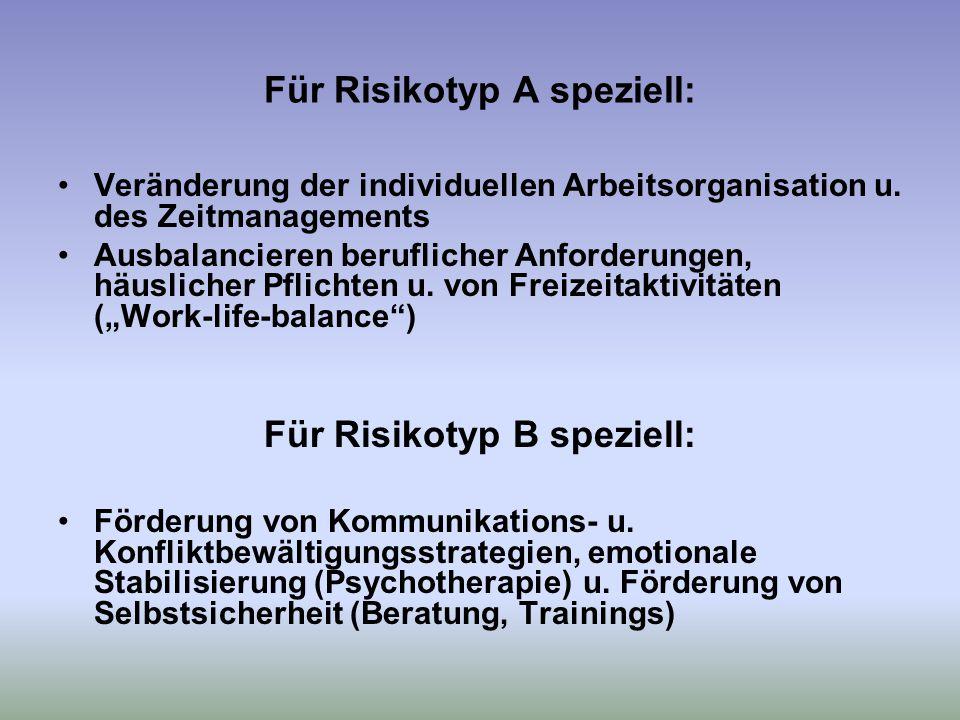 Für Risikotyp A speziell: Veränderung der individuellen Arbeitsorganisation u.