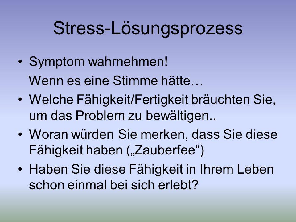 Stress-Lösungsprozess Symptom wahrnehmen.
