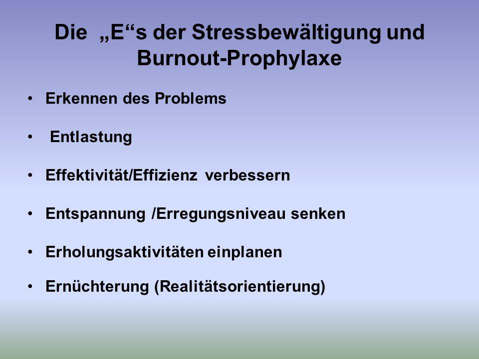 """Die """"E s der Stressbewältigung und Burnout-Prophylaxe Erkennen des Problems Entlastung Effektivität/Effizienz verbessern Entspannung /Erregungsniveau senken Erholungsaktivitäten einplanen Ernüchterung (Realitätsorientierung)"""