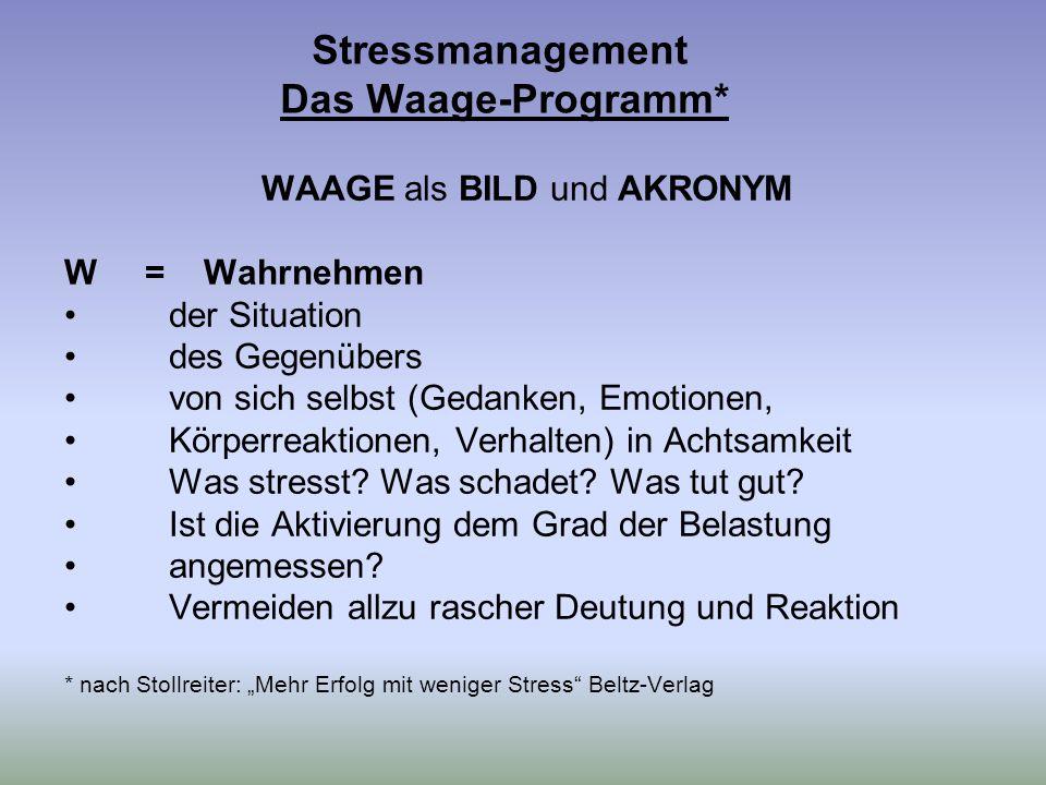 Stressmanagement Das Waage-Programm* WAAGE als BILD und AKRONYM W = Wahrnehmen der Situation des Gegenübers von sich selbst (Gedanken, Emotionen, Körperreaktionen, Verhalten) in Achtsamkeit Was stresst.