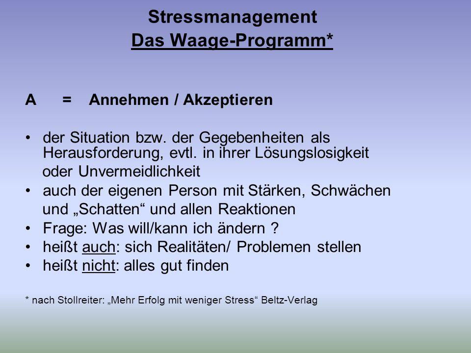 Stressmanagement Das Waage-Programm* A = Annehmen / Akzeptieren der Situation bzw.