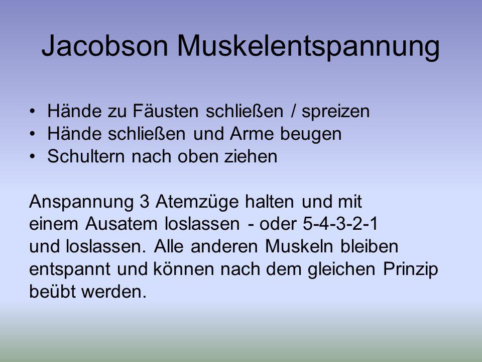 Jacobson Muskelentspannung Hände zu Fäusten schließen / spreizen Hände schließen und Arme beugen Schultern nach oben ziehen Anspannung 3 Atemzüge halten und mit einem Ausatem loslassen - oder 5-4-3-2-1 und loslassen.