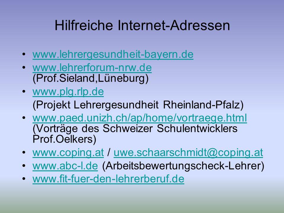 Hilfreiche Internet-Adressen www.lehrergesundheit-bayern.de www.lehrerforum-nrw.de (Prof.Sieland,Lüneburg)www.lehrerforum-nrw.de www.plg.rlp.de (Projekt Lehrergesundheit Rheinland-Pfalz) www.paed.unizh.ch/ap/home/vortraege.html (Vorträge des Schweizer Schulentwicklers Prof.Oelkers)www.paed.unizh.ch/ap/home/vortraege.html www.coping.at / uwe.schaarschmidt@coping.atwww.coping.atuwe.schaarschmidt@coping.at www.abc-l.de (Arbeitsbewertungscheck-Lehrer)www.abc-l.de www.fit-fuer-den-lehrerberuf.de