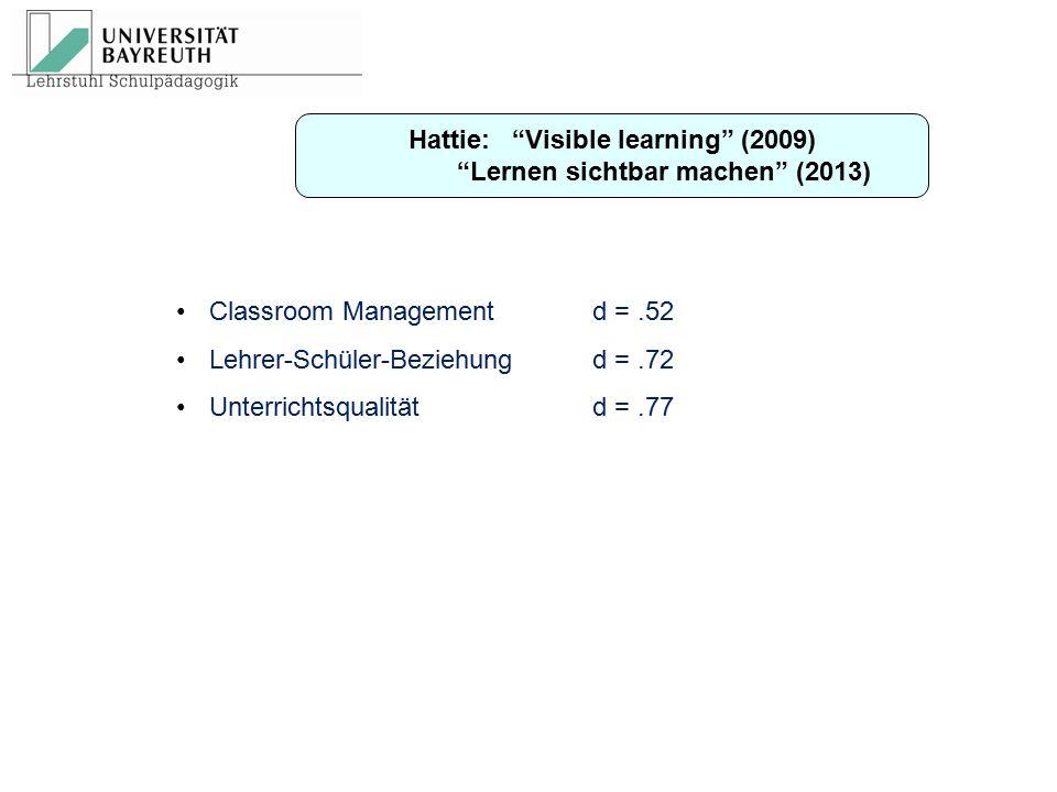 """Hattie: """"Visible learning"""" (2009) """"Lernen sichtbar machen"""" (2013) Classroom Managementd =.52 Lehrer-Schüler-Beziehungd =.72 Unterrichtsqualitätd =.77"""
