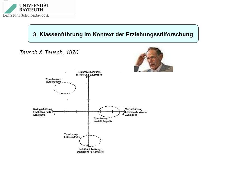 Tausch & Tausch, 1970 3. Klassenführung im Kontext der Erziehungsstilforschung