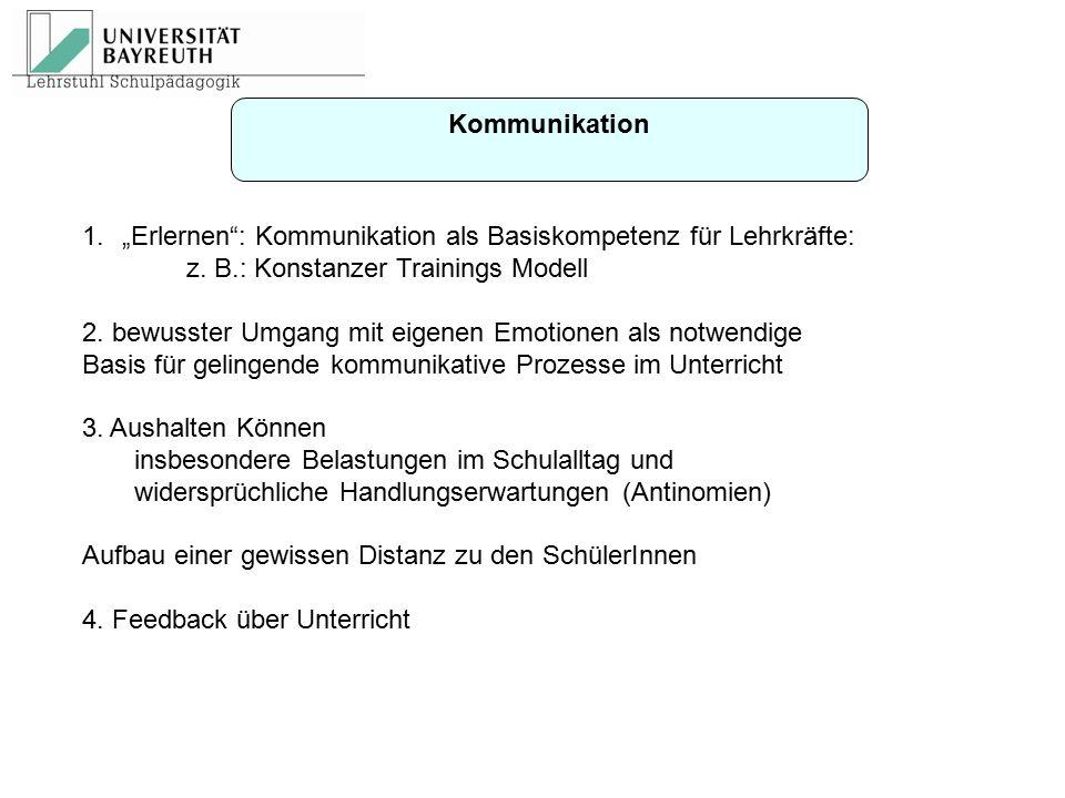 """Kommunikation 1.""""Erlernen"""": Kommunikation als Basiskompetenz für Lehrkräfte: z. B.: Konstanzer Trainings Modell 2. bewusster Umgang mit eigenen Emotio"""