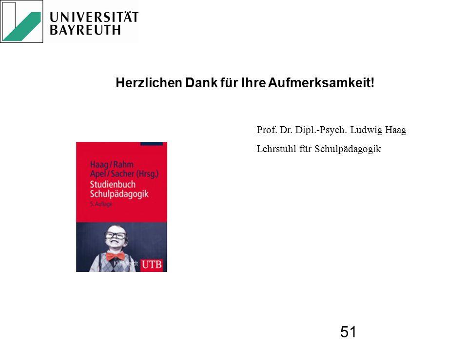 51 Prof. Dr. Dipl.-Psych. Ludwig Haag Lehrstuhl für Schulpädagogik Herzlichen Dank für Ihre Aufmerksamkeit! Mit seiner 2009 vorgelegten Synopse hat Ha