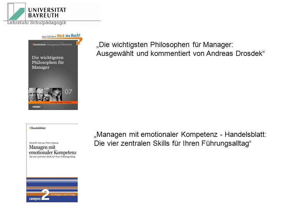 """""""Die wichtigsten Philosophen für Manager: Ausgewählt und kommentiert von Andreas Drosdek"""" """"Managen mit emotionaler Kompetenz - Handelsblatt: Die vier"""