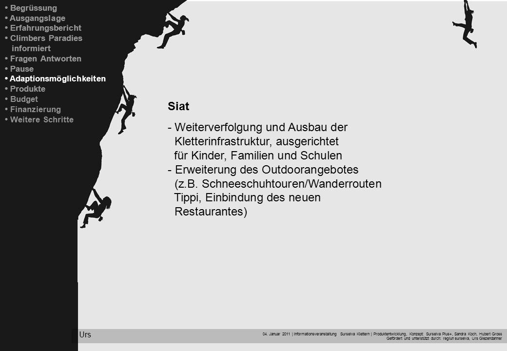 04. Januar 2011 | Informationsveranstaltung Surselva Klettern | Produktentwicklung, Konzept: Surselva Plus+, Sandra Koch, Hubert Gross Gefördert und u