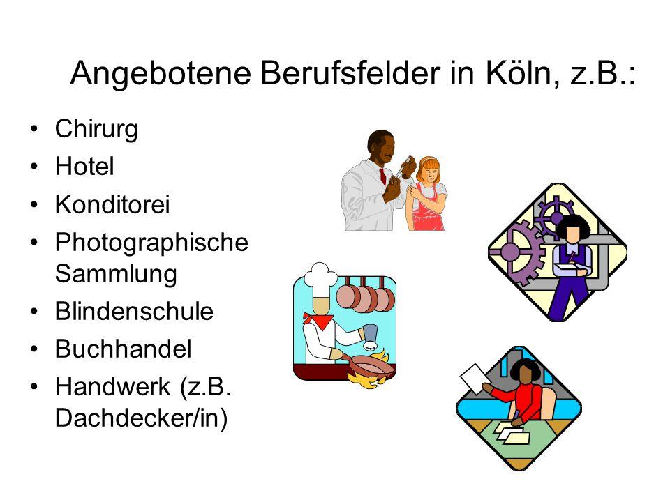Angebotene Berufsfelder in Köln, z.B.: Chirurg Hotel Konditorei Photographische Sammlung Blindenschule Buchhandel Handwerk (z.B. Dachdecker/in)