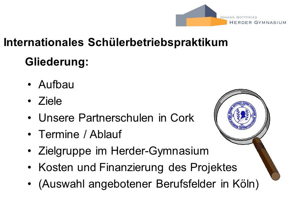 Gliederung: Aufbau Ziele Unsere Partnerschulen in Cork Termine / Ablauf Zielgruppe im Herder-Gymnasium Kosten und Finanzierung des Projektes (Auswahl