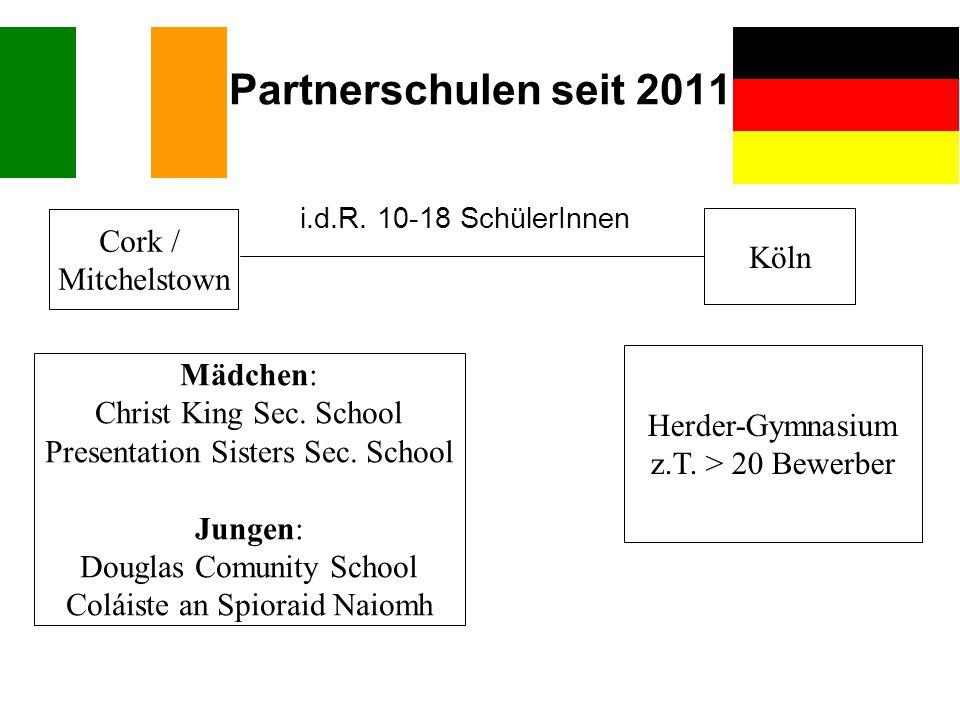 Partnerschulen seit 2011 Cork / Mitchelstown Köln Mädchen: Christ King Sec. School Presentation Sisters Sec. School Jungen: Douglas Comunity School Co