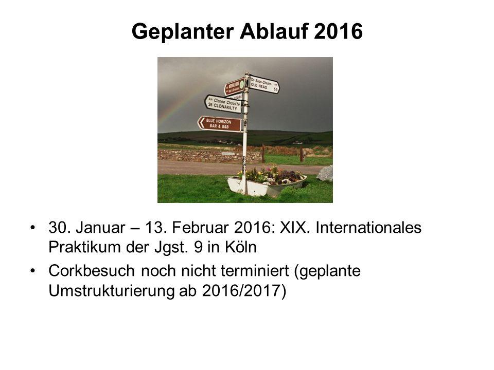 Geplanter Ablauf 2016 30. Januar – 13. Februar 2016: XIX. Internationales Praktikum der Jgst. 9 in Köln Corkbesuch noch nicht terminiert (geplante Ums