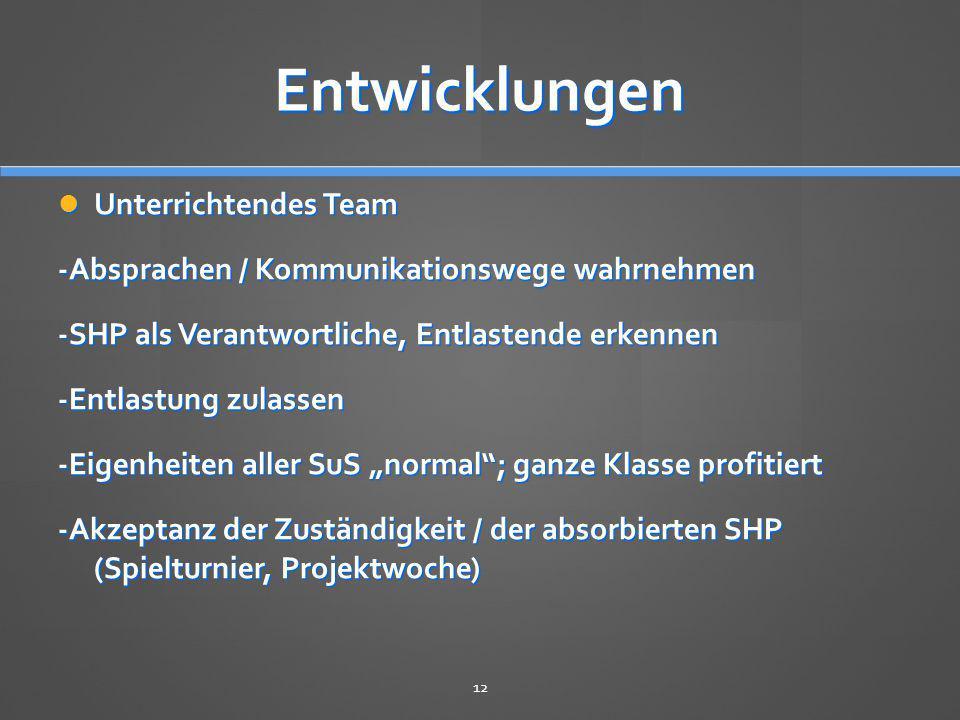 Entwicklungen Unterrichtendes Team Unterrichtendes Team -Absprachen / Kommunikationswege wahrnehmen -SHP als Verantwortliche, Entlastende erkennen -En
