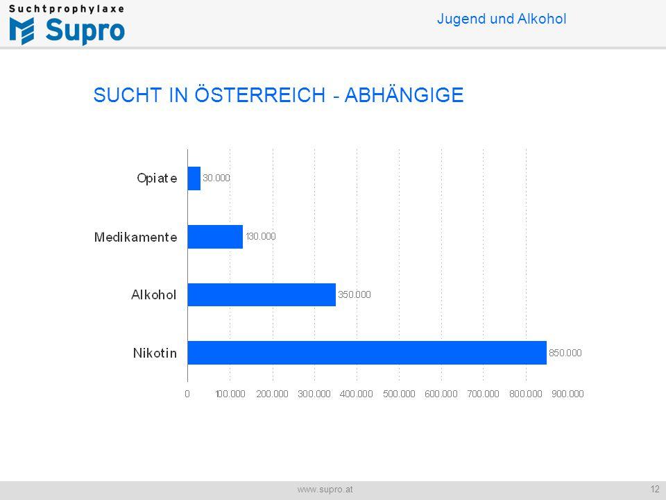 12www.supro.at Jugend und Alkohol SUCHT IN ÖSTERREICH - ABHÄNGIGE