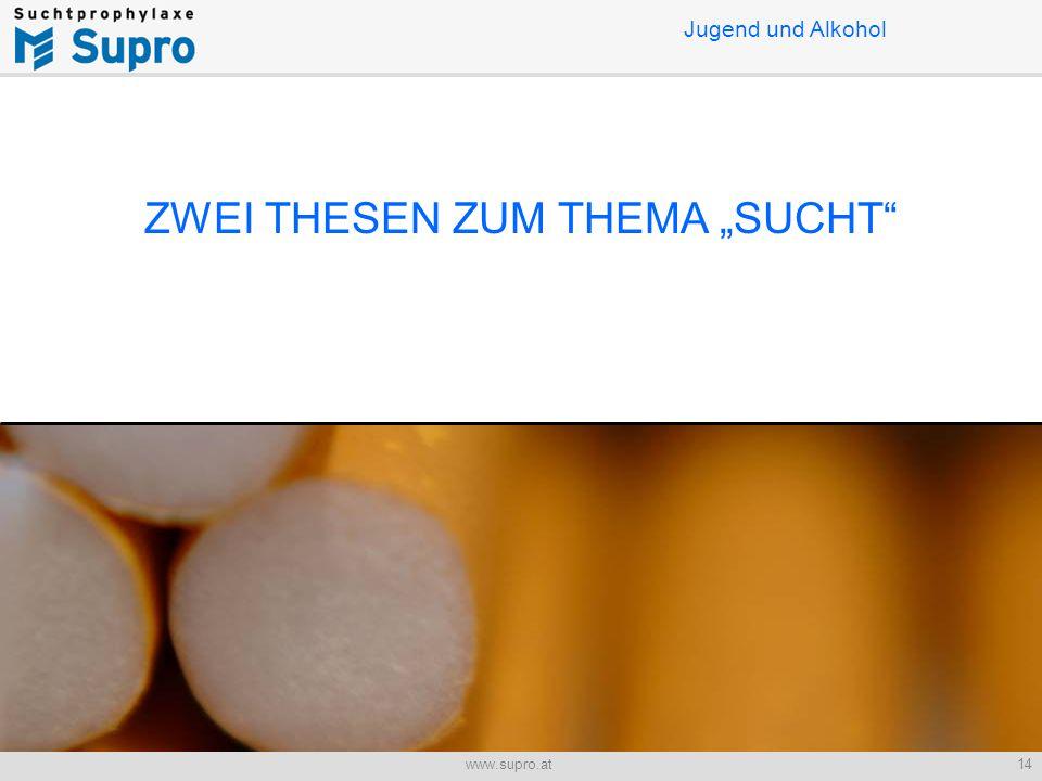 """14www.supro.at Jugend und Alkohol ZWEI THESEN ZUM THEMA """"SUCHT"""