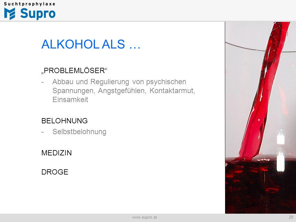 """28www.supro.at Jugend und Alkohol ALKOHOL ALS … """"PROBLEMLÖSER - Abbau und Regulierung von psychischen Spannungen, Angstgefühlen, Kontaktarmut, Einsamkeit BELOHNUNG -Selbstbelohnung MEDIZIN DROGE"""