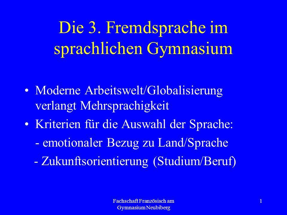 Fachschaft Französisch am Gymnasium Neubiberg 1 Die 3. Fremdsprache im sprachlichen Gymnasium Moderne Arbeitswelt/Globalisierung verlangt Mehrsprachig