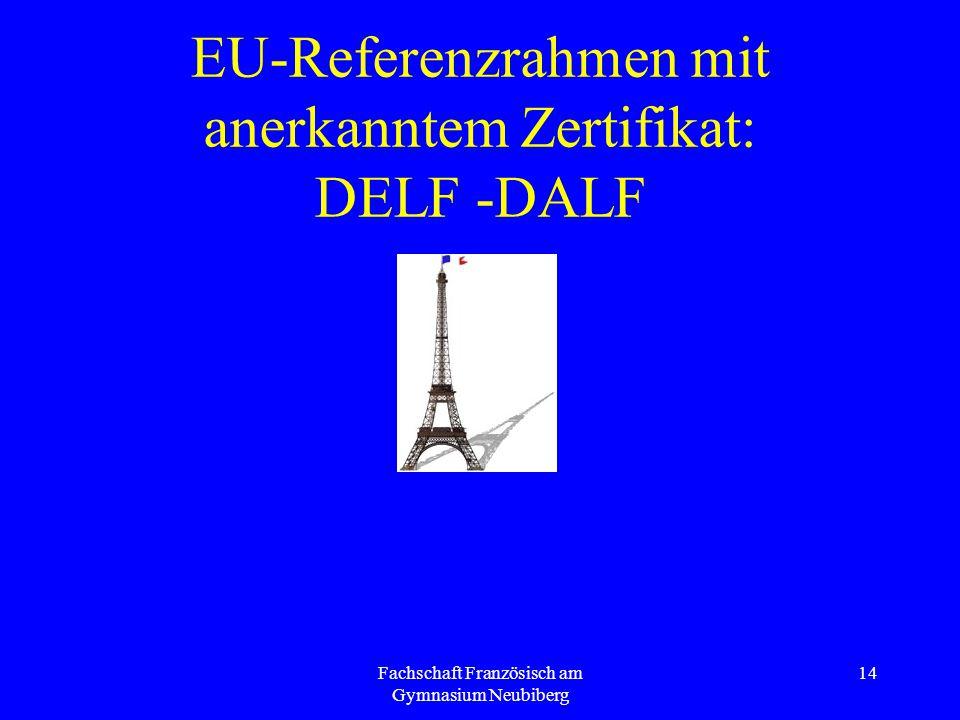 Fachschaft Französisch am Gymnasium Neubiberg 14 EU-Referenzrahmen mit anerkanntem Zertifikat: DELF -DALF