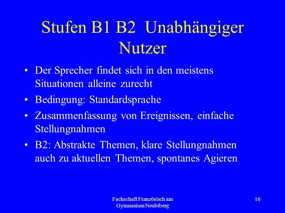 Fachschaft Französisch am Gymnasium Neubiberg 16 Stufen B1 B2 Unabhängiger Nutzer Der Sprecher findet sich in den meistens Situationen alleine zurecht