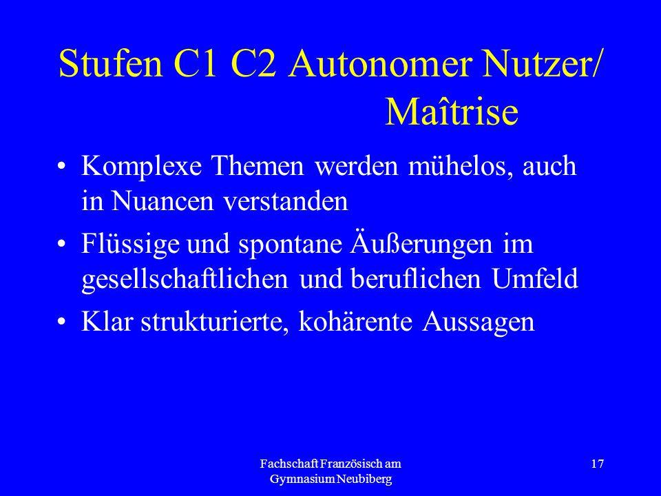 Fachschaft Französisch am Gymnasium Neubiberg 17 Stufen C1 C2 Autonomer Nutzer/ Maîtrise Komplexe Themen werden mühelos, auch in Nuancen verstanden Fl