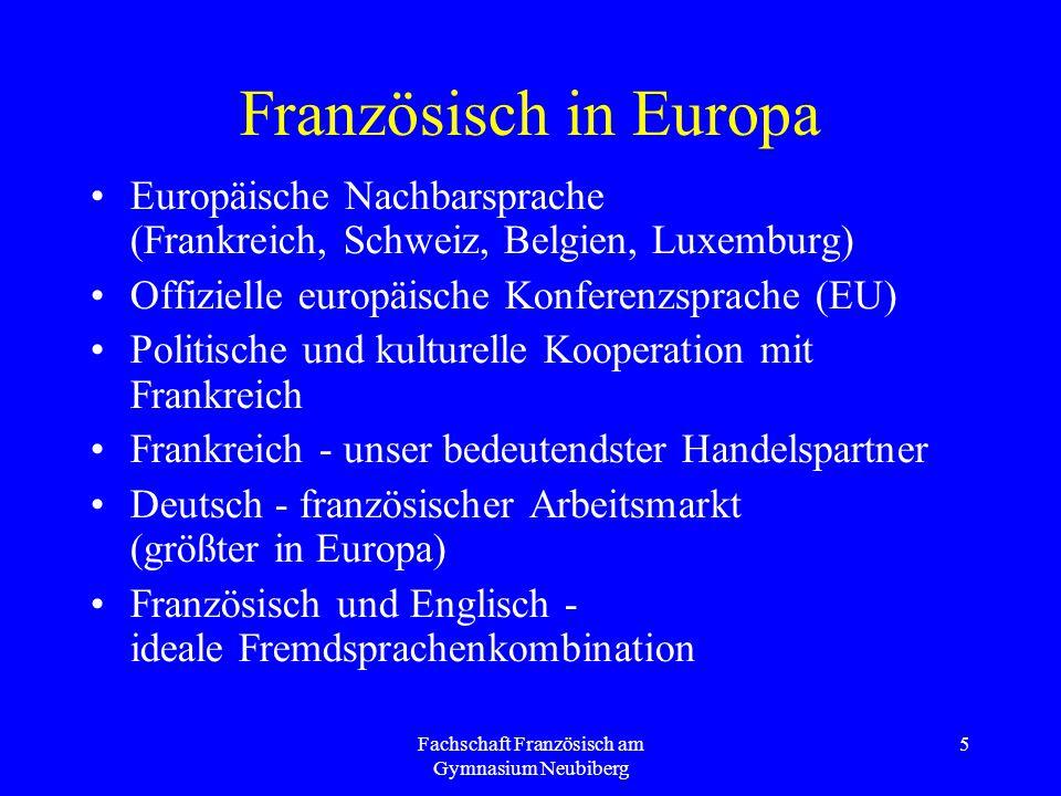 Fachschaft Französisch am Gymnasium Neubiberg 5 Französisch in Europa Europäische Nachbarsprache (Frankreich, Schweiz, Belgien, Luxemburg) Offizielle