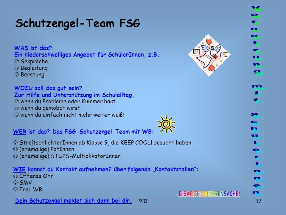 WB13 Schutzengel-Team FSG WAS ist das.Ein niederschwelliges Angebot für SchülerInnen, z.B.