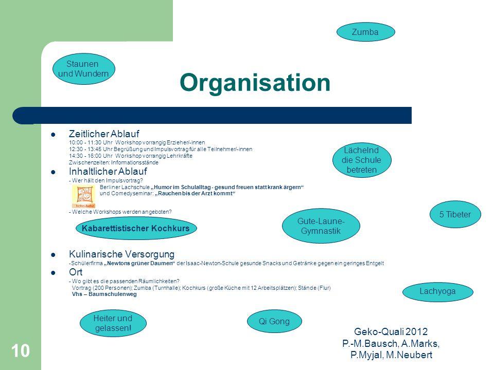 Geko-Quali 2012 P.-M.Bausch, A.Marks, P.Myjal, M.Neubert 10 Organisation Zeitlicher Ablauf 10:00 - 11:30 Uhr Workshop vorrangig Erzieher/-innen 12:30