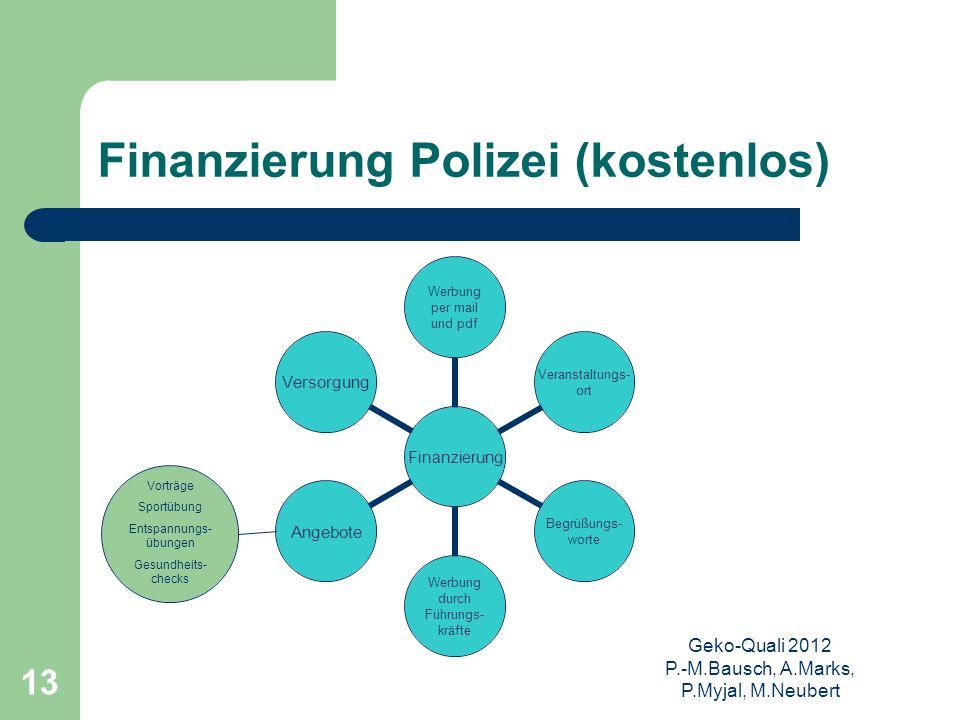 Geko-Quali 2012 P.-M.Bausch, A.Marks, P.Myjal, M.Neubert 13 Finanzierung Polizei (kostenlos) Vorträge Sportübung Entspannungs- übungen Gesundheits- ch