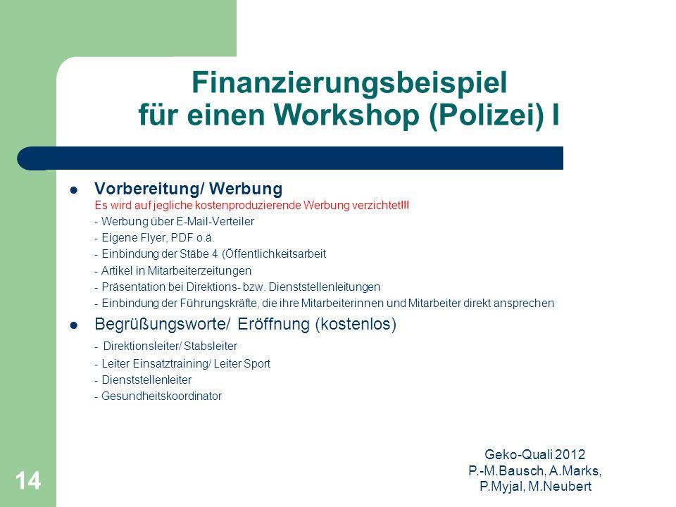 Geko-Quali 2012 P.-M.Bausch, A.Marks, P.Myjal, M.Neubert 14 Finanzierungsbeispiel für einen Workshop (Polizei) I Vorbereitung/ Werbung Es wird auf jeg