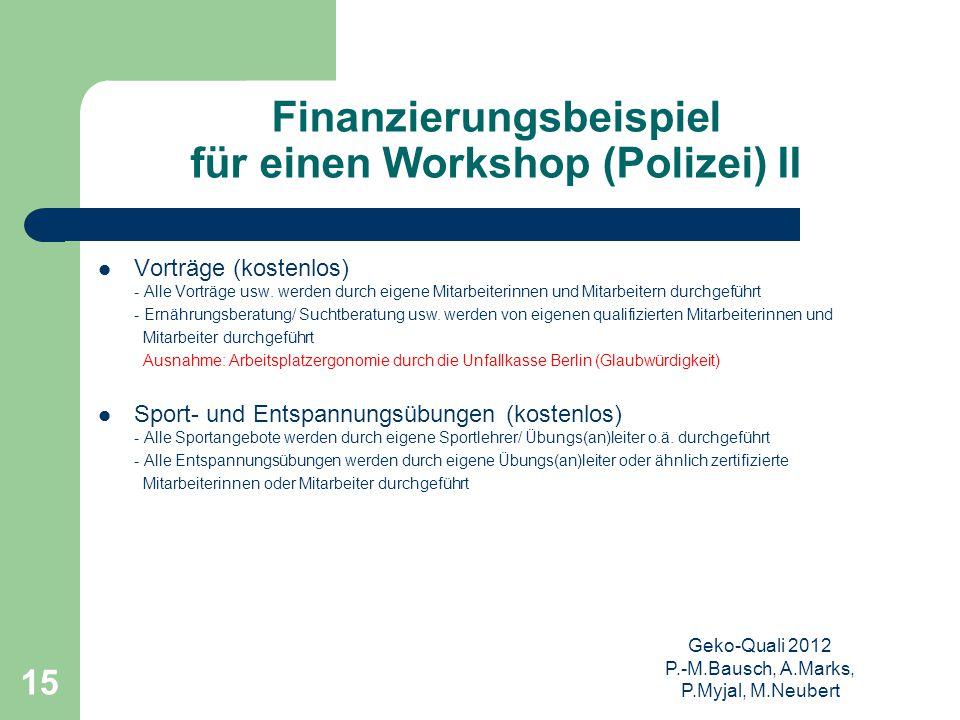 Geko-Quali 2012 P.-M.Bausch, A.Marks, P.Myjal, M.Neubert 15 Finanzierungsbeispiel für einen Workshop (Polizei) II Vorträge (kostenlos) - Alle Vorträge